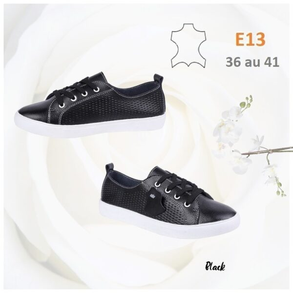 Perforated lace up plimsolls in leather E13