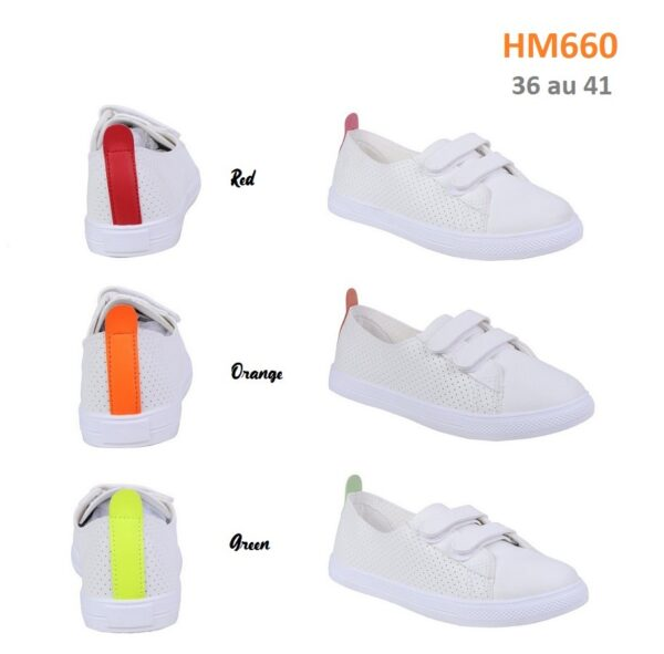 Perforated plimsolls with velcro fasteners HM660