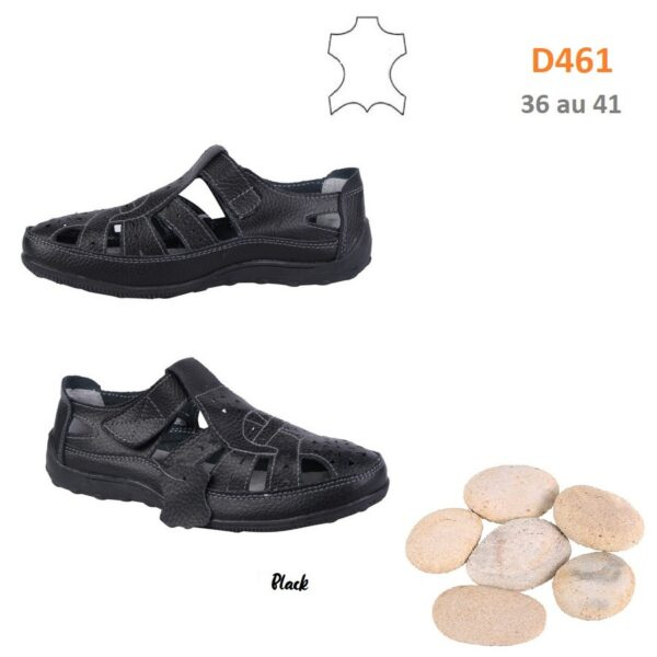 Strap plimsolls in leather D461