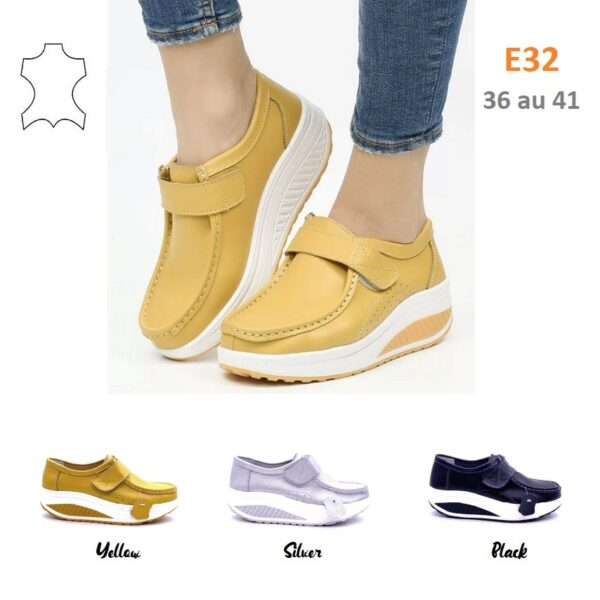 Wedge sneakers with velcro fasteners in leather E32