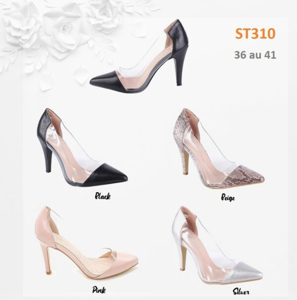 Pointed heeled court shoes in snake ST310