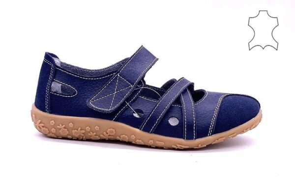 Strap plimsolls in leather D406